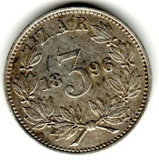 1893 3d Silver THREE PENCE threepence thrupence  Paul Kruger South Africa ZAR