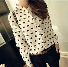 New Fashion Womens Ladies Loose Chiffon Tops Long Sleeve Shirt Casual Blouse L