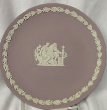 """WEDGWOOD JASPERWARE CREAM COLOR ON LILAC PURPLE COLLECTOR PLATE 6.5"""" AESCULAPIUS"""