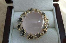 925 STERLING SILVER GOLD RHODIUM ROSE QUARTZ RED GARNET FLOWER CABOCHON RING R 9