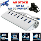 Aluminum 7 Ports USB 3.0 HUB Extender + 5V 1A AU AC Power Adapter for PC Laptop