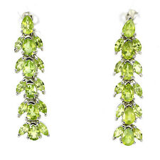 BEAUTEOUS! Natural TOP RICH GREEN PERIDOT .925 STERLING SILVER EARRINGS
