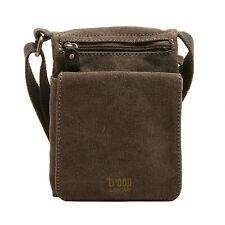 Troop London - Small Black Classic Canvas Messenger/Body Bag with Leather Trim