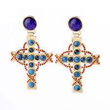 Boucles d`Oreilles Clips Doré Croix Bleu Rouge Vintage Baroque Pendant J2