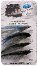 Dragon Supertinsel Bass Streamers Saltwater Flies 4pk