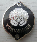 WALKING STICK BADGE WITH PINS - YORKSHIRE WHITE ROSE - CHROME PLATED - BRAND NEW