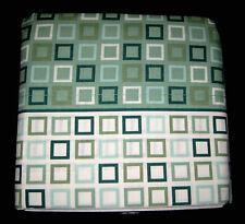 QUEEN - Essential Home - City Squares Green, Aqua & White Geometric SHEET SET