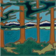 Ceramic Tile  Mountain Lake Trees Hot Plate, Wall Decor, Install, Hand Painted