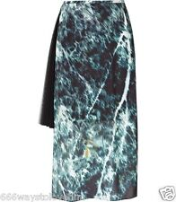 Reiss Eva Forest Green/Black Print Midi Skirt with pleated side panel UK 12/US 8