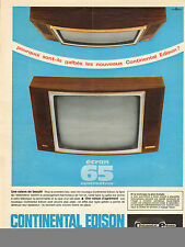 Publicité 1966  Téléviseur CONTINENTAL EDISON  écran 65 cm