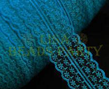 10yards 45mm Fabric Embroidered Lace Bilateral Trim Ribbon Sewing Peacock Blue