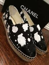 NIB Chanel 15S Black White Tweed Paint CC Patent Double Sole Espadrille Flats 41