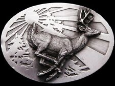 JB25113 VINTAGE 1986 SISKIYOU **RUNNING BIG BUCK DEER** PEWTER BELT BUCKLE