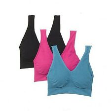 Ahh By Rhonda Shear Cotton Blend Sports Bra with Removable Pads 1X ~ 3 Bra's