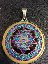 Sri Yantra OM Necklace 1.5 Tourmaline Gemstone Pendant Sterling Silver Best Gift