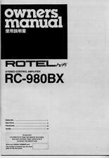 Rotel RC-980BX Amplifier Owners Manual