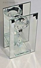 GLASS & MIRROR SINGLE CRYSTAL DROPLET TEA LIGHT CANDLE HOLDER HOME ORNAMENT NEW