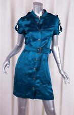 LANVIN Womens Dark Blue Silk Satin Short-Sleeve Belted Shirt Dress 34/2 XS