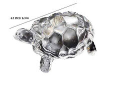 CRYSTAL CLEAR TORTOISE TURTLE FOR FENG SHUI VAASTU GIFT CAREER AND LUCK 4.5 Inch