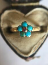 Antique Victorian Yellow Gold Pretty Turquoise Ruby Cluster Band Ring