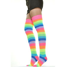 Rainbow Women Socks Multi-color Pride Striped Thigh High One Size Neon