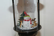Christmas 25cm Oil Lamp Lantern Style Snow Globe Water Spinner Snowman & Deer