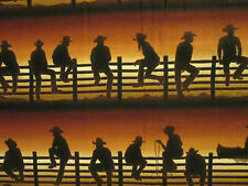 WESTERN COWBOY ON FENCE BORDER BROWN BURNT ORANGE COTTON FABRIC FQ