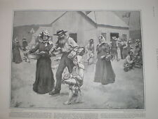 Getting food rations at a Boer refugee camp Maritzburg South Africa 1901 print
