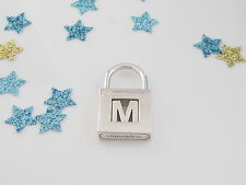 Auth Tiffany & Co Silver Alphabet Padlock M For Necklace / Bracelet
