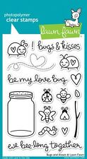 LAWN FAWN CLEAR STAMP SET - BUGS & KISSES - LF789 bee ladybird mason jar insect
