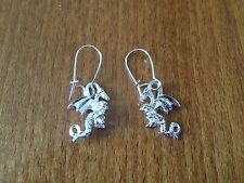 Silver Coloured Dragon Themed Dangly Earrings - NEW Pagan/Wicca