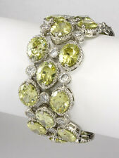 NEW 84CTW  CHUNKY PERIDOT+CLEAR CLUSTER CUBIC ZIRCONIA TENNIS BRACELET-BRIDAL