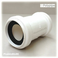 "Polypipe 40mm 1-1/2"" Universal Push Fit Waste Pipe Coupler Connector UWC40 White"