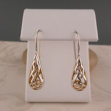 Sterling Silver Drop CELTIC TRINITY KNOT EARRINGS Keith Jack GOLD GILDING