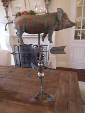 LARGE Handcrafted 3 Dimensional Full Body PIG Weathervane Copper Patina Finish