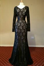 JACQUES VERT black lace maxi dress size 10 evening long 20s gothic sleeve gown