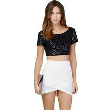 Women Sexy Bling Sequin Short Sleeve Crop Top Shirt Backless Midriff Tops Blouse