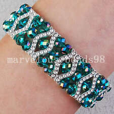 AB Peacock Green Crystal Faceted Beads Bracelet G3124