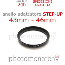 Anello STEP-UP adattatore da 43mm a 46mm filtro - STEP UP adapter ring 43 46 mm