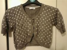 M&S Cream & Mink Polka dot Bolero Shrug Cardigan Top Size 10 Very Soft New
