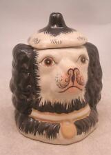 Staffordshire poterie figure-black dog head tobacco jar avec couvercle