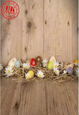 KIDS EASTER EGG BROWN WOOD BACKDROP BACKGROUND VINYL PHOTO PROP 5X7FT 150x220CM