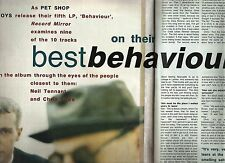 PET SHOP BOYS 'best behaviour' 1990 2 page UK ARTICLE / clipping