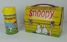 Vintage 1968 Snoopy Metal Lunch Box with Thermos - RARE - Peanuts - Dog House