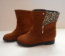 TAN AND LEOPARD PRINT ANKLE BOOTS NOW BOOTS SIZE 7.5 - 8