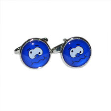 Blue Funny Face CUFFLINKS Fun Smiley Secret Santa Christmas Birthday Present