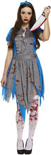 Horror Scary Alice In Wonderland Womens Halloween Fancy Dress Costume P7846