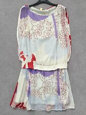 Diane von Furstenberg Silk dress with dropped waist.Cream red purple. UK14, US10