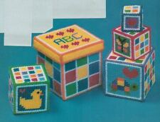 STACKING CUBES BUILDING BLOCKS TOY PLASTIC CANVAS PATTERN INSTRUCTIONS
