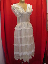 Vintage 1930's Antique White Semi Sheer Organdy Rayon & Lace Dress Medium